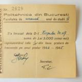 ROMANIA CHITANTA TAXA SCOLARIZARE POLITEHNICA BUCURESTI AN SCOLAR 1944 - 1945 **
