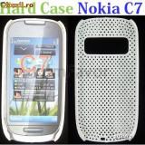 NOKIA C7 CAPAC SPATE PERFORAT ALB NOU DIN PLASTIC ! - Husa Telefon