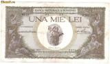 * Bancnota 1000 lei 1939 - cu overprint - verzuie
