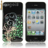 husa protectie iphone 4 gel silicon rigid case  florala cover 4g iph flower power