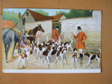 Carte postala desen cai si caini de vanatoare circulata in Romania