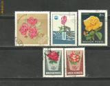 UNGARIA - FLORI TRANDAFIRI, 5 timbre stampilate F60
