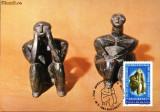 Maxima statuieta din ceramica Ganditorul,descoperita la Cernavoda