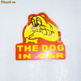 "Sticker auto  ""THE DOG IN CAR""Safe warning 13 / 14 cm colant"