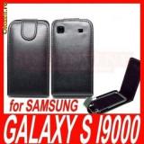 Toc Samsung i9000 i9001 Galaxy S plus + folie protectie + stylus - Husa Telefon Samsung, Negru, Piele Ecologica, Cu clapeta, Husa