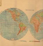 Harta Fizica a lumii, harta fizica si politica Australia si Oceania(Fata - verso) 1960