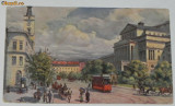 Carte postala WARSZAWA PLAC TEATRALNY RATUSZ I TEATR WIELKI. pOLONIA. TRAMVAI, Necirculata, Printata