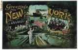 2344 - L I T H O - New York - POMPIERI, Nave - old postcard - used - 1908