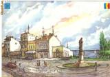 Ilustrata Constanta in grafica lui D. Rosu - Piata Ovidiu