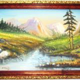 PICTURĂ VECHE, ULEI PE CARTON, PEISAJ MONTAN CU IZVOR, TABLOU SEMNAT R. SEITH! - Pictor strain, Peisaje, Realism
