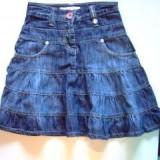 Fusta jeans, 6-7 ani, culoare originala, 17 ron