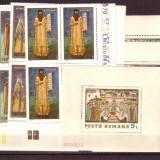 Romania L730, 31.4x+4 Fresce 1970 bloc 4+4 colite dantelate - Timbre Romania