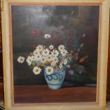 Vas cu flori , pictat interbelic , ulei , provenind din Bucovina , de dimensiuni mari