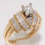 Inel aur galben 14K cu diamante naturale VS 1.99CT superb