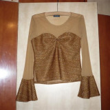 Bluza eleganta bej-auriu combinatie voal cu lurex, NOUA