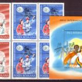 Romania L1121, 22.4x+1 Anul International al Tineretului 1985 bloc 4+col.dant - Timbre Romania
