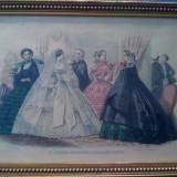 Gravura colorata manula 1860 Le Journal des dames et des demoiselles