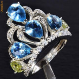 FABULOS INEL marcat 925 - CROWN LONDON BLUE TOPAZ D=18.3mm - Inel argint
