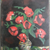 Pictura veche pe carton 6, vaza cu flori tablou inspirat de Luchian - Pictor roman, Ulei, Impresionism