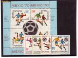 Romania L729,29a   CM de Fodbal-Mexico-70 serie+colita dantelata