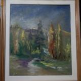 "Tablou ulei pe panza ""Inainte de ploaie"" de Gheorghe Stoica, Peisaje, Impresionism"