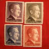 Serie Uzuale Hitler valori mari, dant.12 1/2 Germania naz., 4val.sarn.