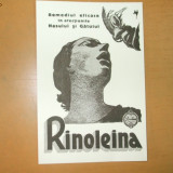 Carte postala reclama RINOLEINA remediul eficace in afectiunile nasului si gatului 16 x 11 cm
