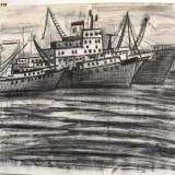 VAPOARE IN PORT, carbune - MARIA POPA - Pictor roman