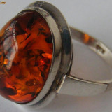 Inel vechi din argint cu chihlimbar (2) - de colectie - Inel argint