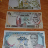 Lot 3 bancnote Zambia 2kwacha, 5 si 10 kwacha UNC necirculate