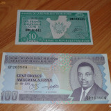 Lot 2 bancnote Burundi 10 si 100 franci UNC necirculate - bancnota africa