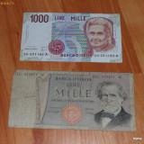 Lot 2 bancnote Italia 1000 lire RAR