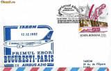 Plic aerofilatelie - Primul zbor TAROM AIRBUS Bucuresti-Paris