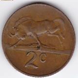 Africa de Sud-South Africa 2 Cents 1970, fauna, taur