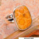 ELEGANT inel UNICAT, argint 925, cu piatra RARA de fossil coral D=18, 14 mm (USA 8)! - Inel argint