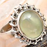ELEGANT inel UNICAT, argint 925, cu prehnite D=16, 92 mm (USA 6, 5)! - Inel argint