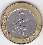 2 Litai Lituania 1999