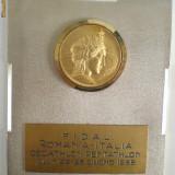 Sport: Medalie Decatlon-Pentatlon Romania-Italia, Cluj , 1968, metal alb (argintat), cap aurit (7X9CM)