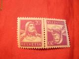 Tete-Beche 20+20 C ,Wilhelm Tell Elvetia ,violet pe galben