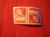 Tete-Beche 20+20 C ,Wilhelm Tell  Elvetia  ,rosu pe galben