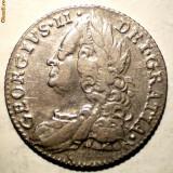 G.325 MAREA BRITANIE GEORGE II 6 PENCE 1757 ARGINT 3, 0g, Europa