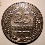 E.334 GERMANIA DEUTSCHES REICH 25 PFENNIG 1911 D XF/AUNC, Europa, Nichel