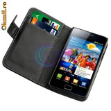 Husa Samsung Galaxy s2 i9100 i9105 + folie + stylus - Husa Telefon Samsung, Negru, Piele Ecologica, Cu clapeta