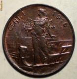 E.362 ITALIA VITTORIO EMANUELE III WWI 1 CENTESIMO 1916 R XF/AUNC, Europa, Bronz
