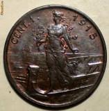 E.361 ITALIA VITTORIO EMANUELE III WWI 1 CENTESIMO 1915 R XF+, Europa, Bronz