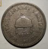 E.005 UNGARIA 20 FILLER 1892 RARA, Europa, Cupru-Nichel