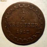 E.040 AUSTRIA 1/2 KREUTZER KREUZER 1812 S VF/XF, Europa, Cupru (arama)