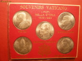 5 Medalii : PAPII intre 1939-1982 - metal argintat ,set suvenir