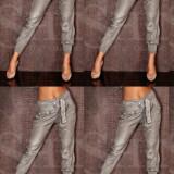 Pantaloni Metalic Shine DarkSilver - Pantaloni dama, Lungi, Antracit, Matase