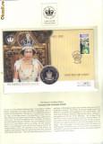 bnk mnd St Helena 50 pence - 1 Crown  2002  , Jubileul de Aur al reginei Elisabeta II , FDC (2)